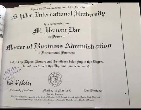 image of usman dars degree issued by schiller international university which the uk education department doesnt recognize