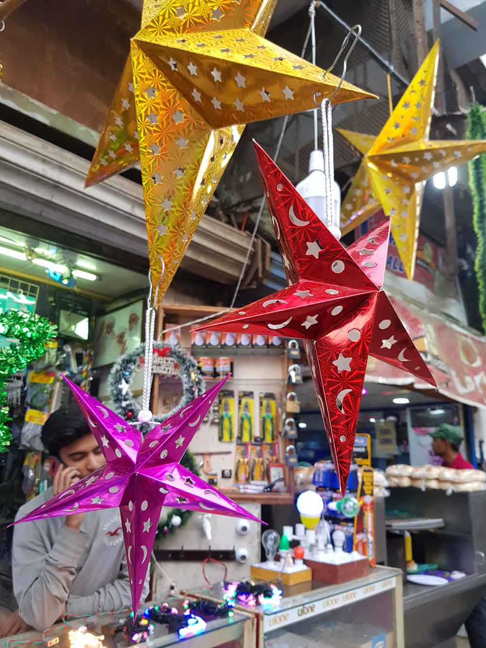In Saddar, a hardware store that sells Christmas trinkets