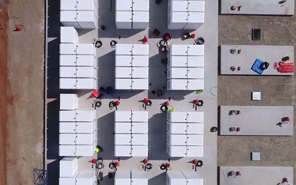 This screen grab from an undated handout video from a drone received by AFP on December 1, 2017 from French energy firm Neoen shows the Tesla 100 MW/129 MWh Powerpack system.