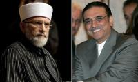 Zardari, Tahirul Qadri agree to meet today after phone call