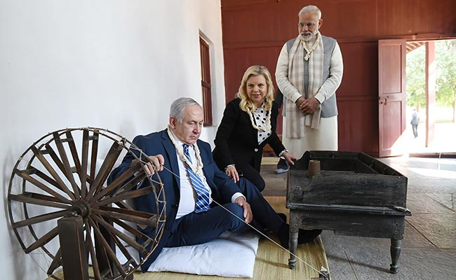 Benjamin Netanyahu his wife Sara and PM Narendra Modi at Sabarmati Ashram in Gujarat last month