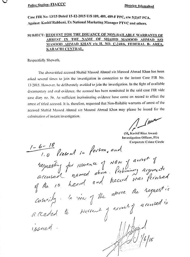 Shahid Masood  Arrest Warrant