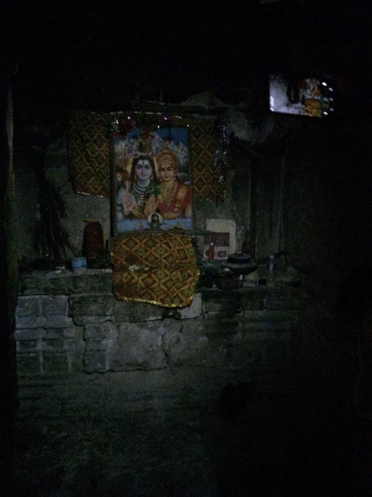 Painting kept inside Gori Mandir indicating a Hindu God