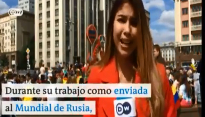 Colombian correspondent groped on live television during World Cup report