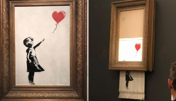 We Just Got Banksy Ed Balloon Girl Painting Self Destructs At Sale