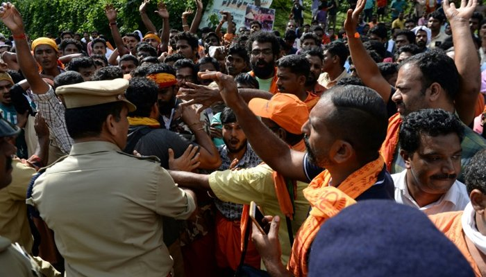 Sabarimala temple gates open amid protests, but no woman enters