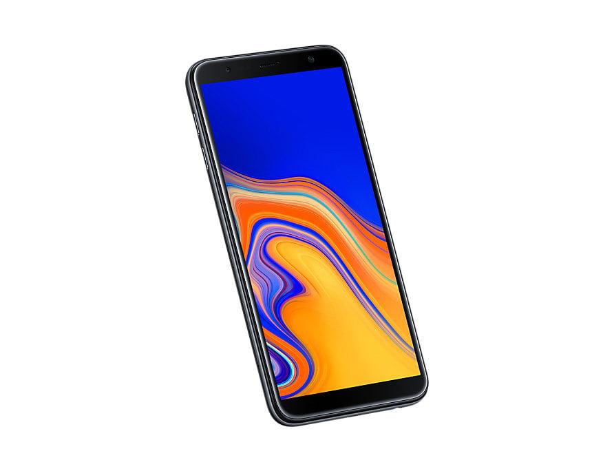 Samsung Galaxy J6 Plus front-side tilt-perspective Black