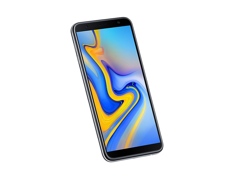 Samsung Galaxy J6 Plus front-side tilt-perspective Gray