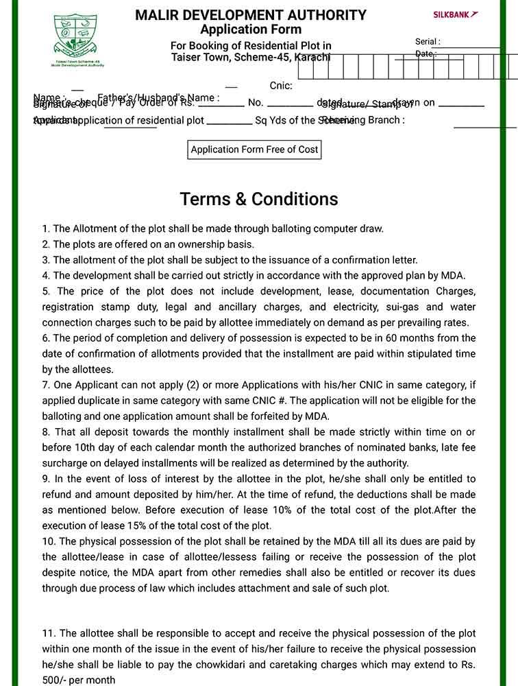 Here's how to get Taiser Town, Scheme-45 application forms