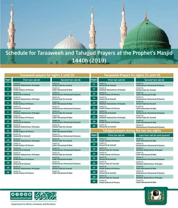 Ramadan 2019: Schedule of Taraweeh and Tahajjud prayers in