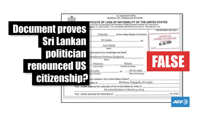 Fact-check: Document proves Sri Lankan politician renounced US