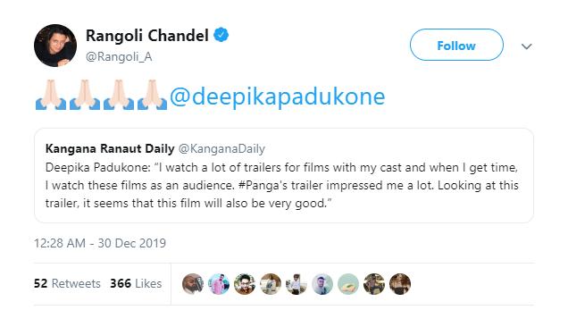 Deepika Padukone cannot stop praising Kanagana Ranaut after Panga trailer