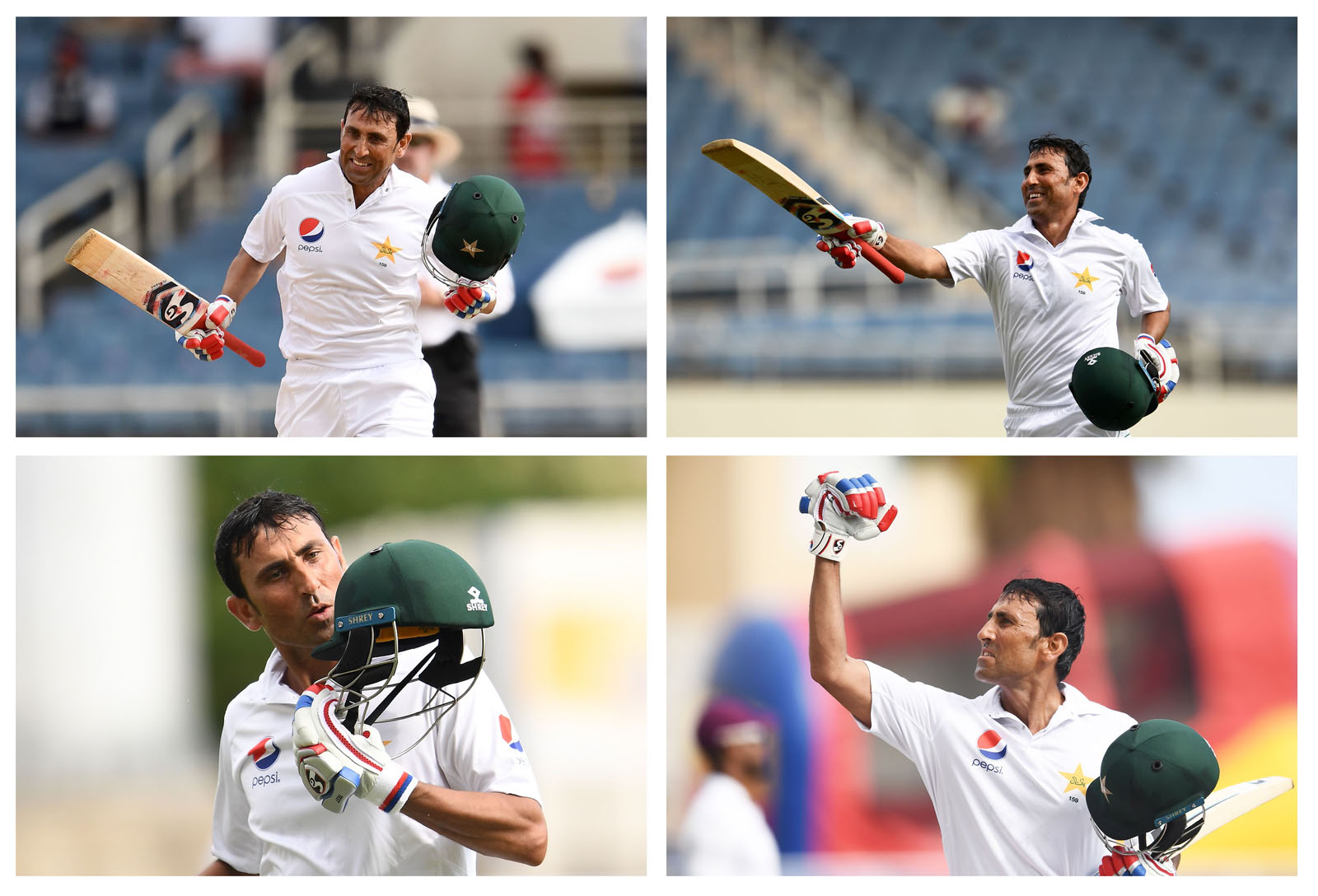 Younis Khan celebrating after reaching his 10,000th Test runs
