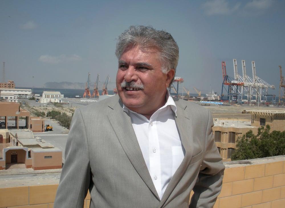 Chairman of the Gwadar Port Project Dostain Khan Jamaldini speaks to the media at Gwadar port.