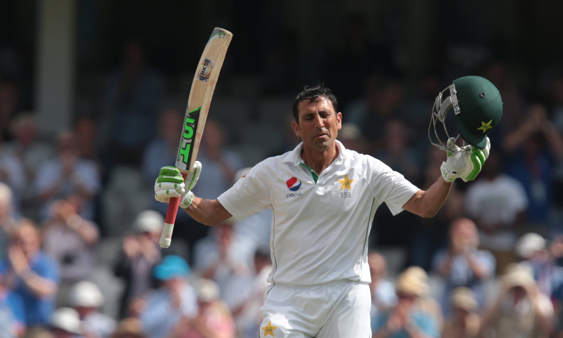 Younis Khan acknowledges The Oval crowd as he celebrates his double century on day three of the fourth Test against England in August 2016.