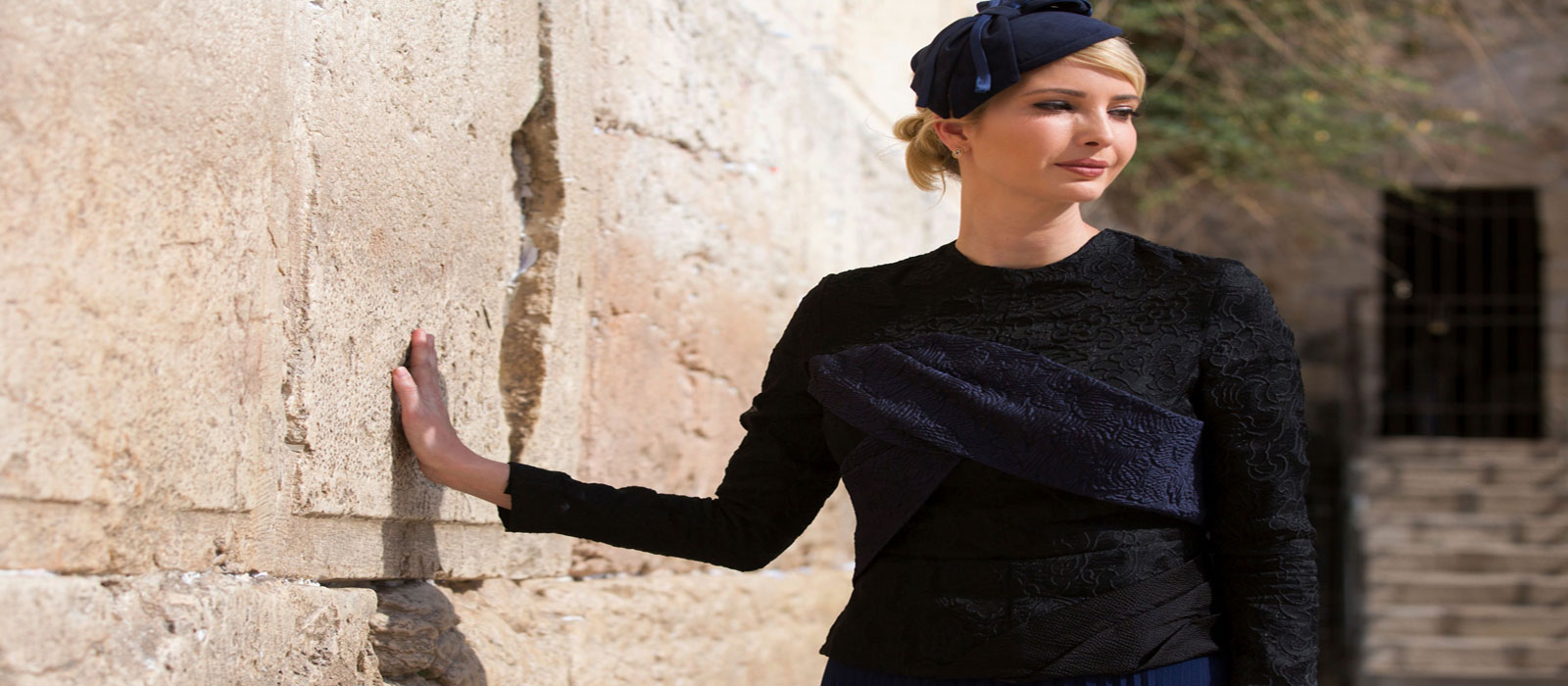 Ivanka is seen during a visit to the Western Wall, the holiest site where Jews can pray. Photo AFP