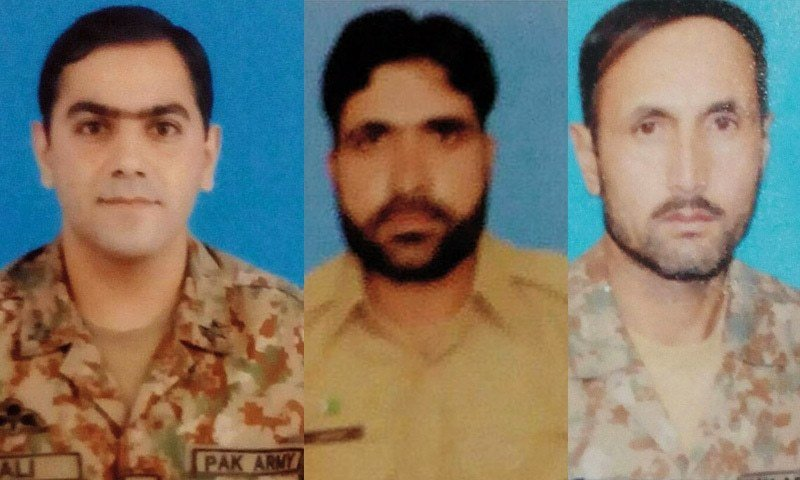 (L-R) Maj Ali Salman, Havaldar Akhtar and Havaldar Ghulam Nazir who were martyred during the counter-terror operation.-ISPR