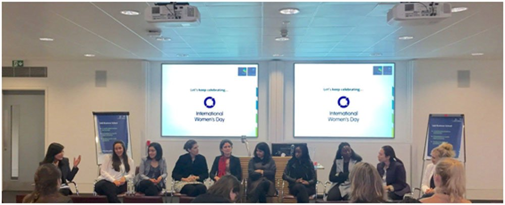 Picture from the event that Kanza (far left) pioneered on International Women's Day