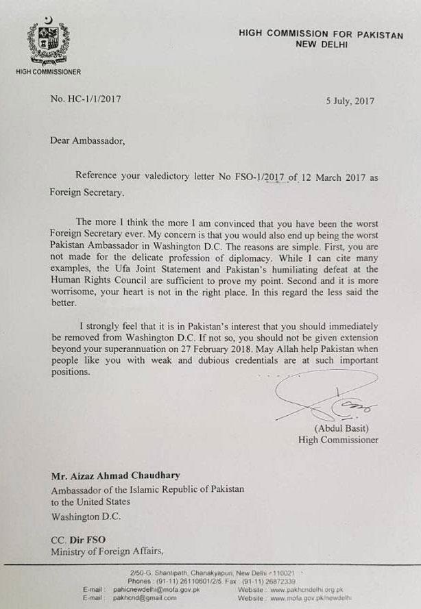 Abdul Basit writes scathing letter to Aizaz Chaudhry | Pakistan
