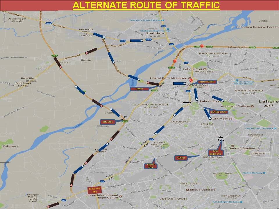 Punjab Government issues alternate traffic route plan for Motorway and GT Road.