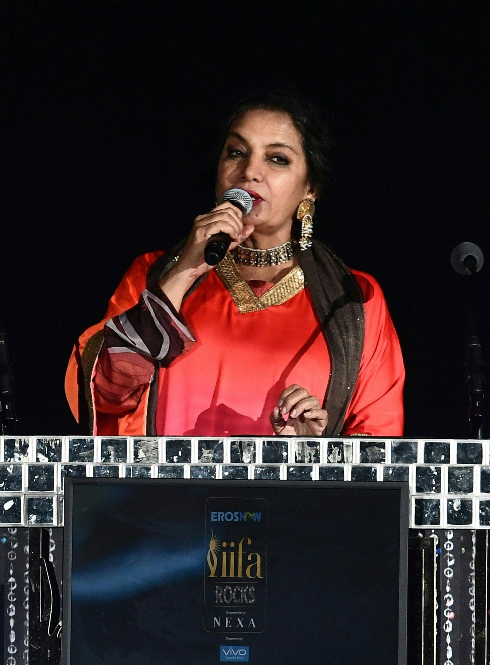 Shabana Azmi speaks at IIFA Rock 2017/AFP