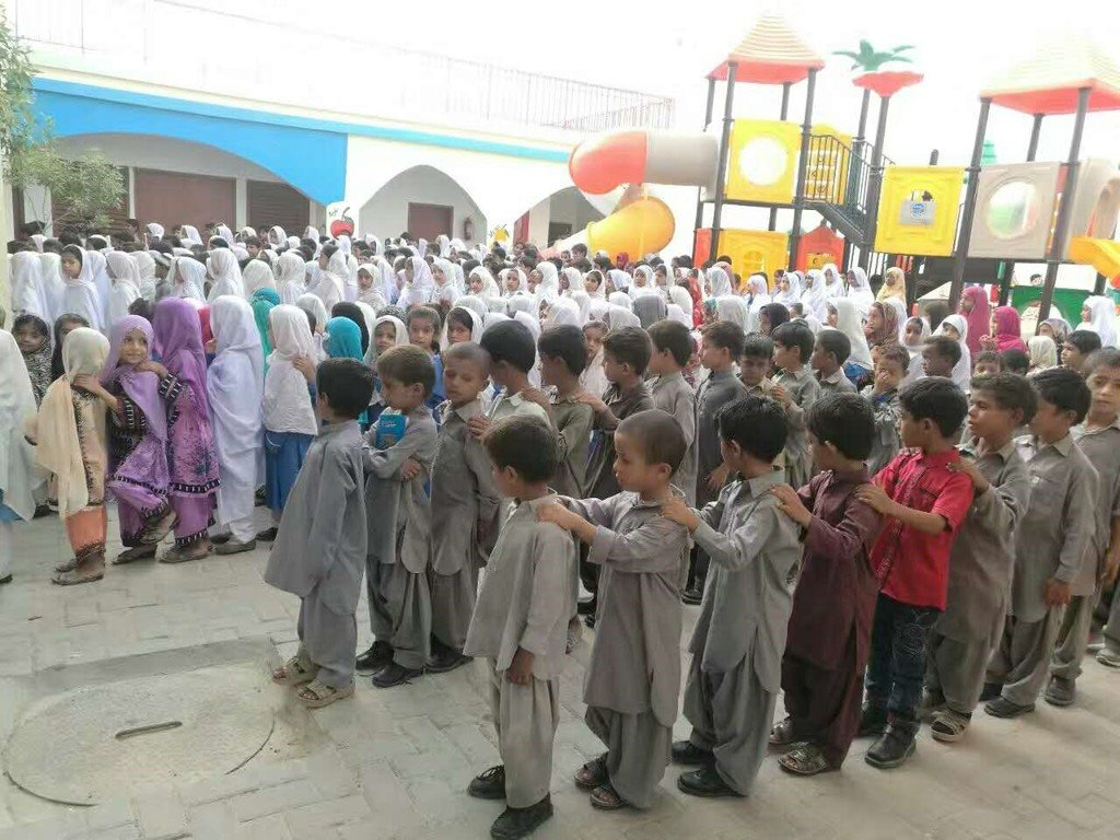 Students at the newly built Pak-China Friendship School