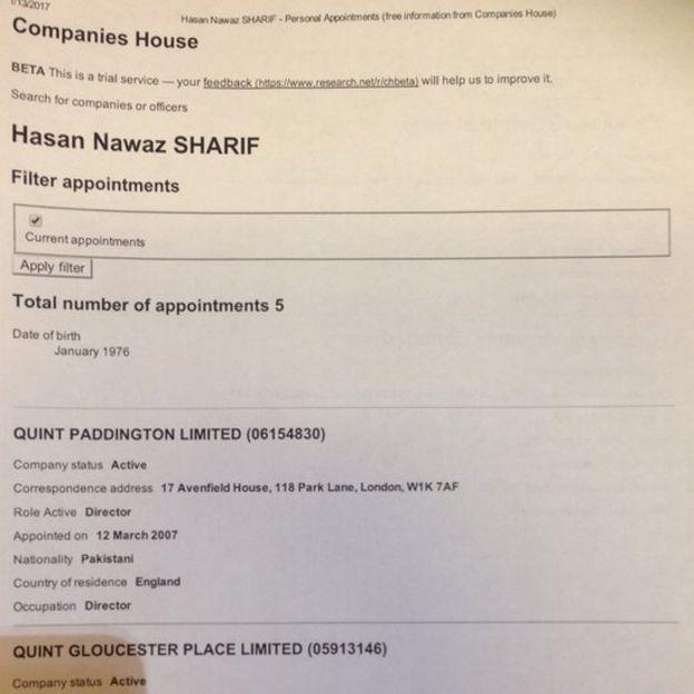 Park Lane address mentioned in Hussain Nawaz