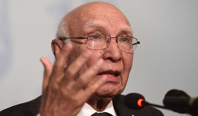 India imposing black laws in  IOK to justify atrocities: Sartaj