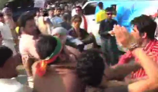 PTI workers clash with each other, misbehave with media
