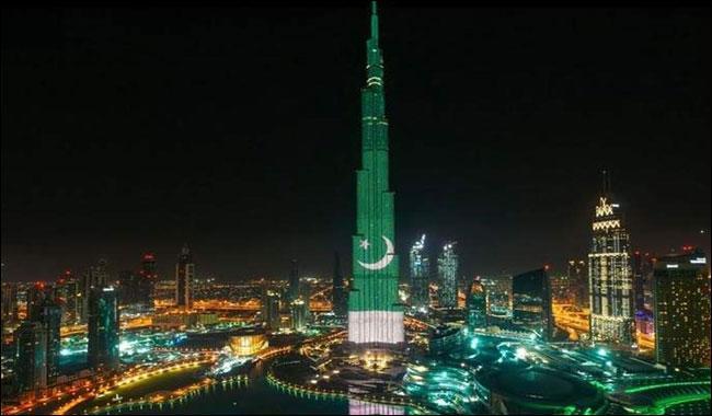 Burj Al-Khalifa lights up with Pak flag colours