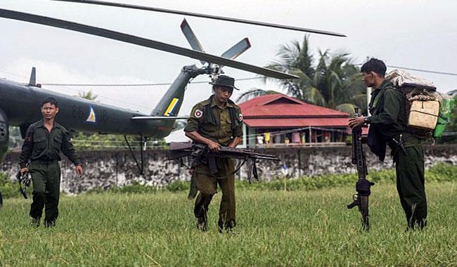 Myanmar troops land in Rakhine