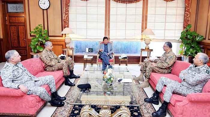 India's military designs: Imran, CJCSC, three chiefs discuss security