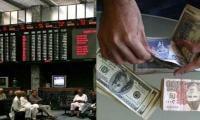 Stocks surge, dollar down