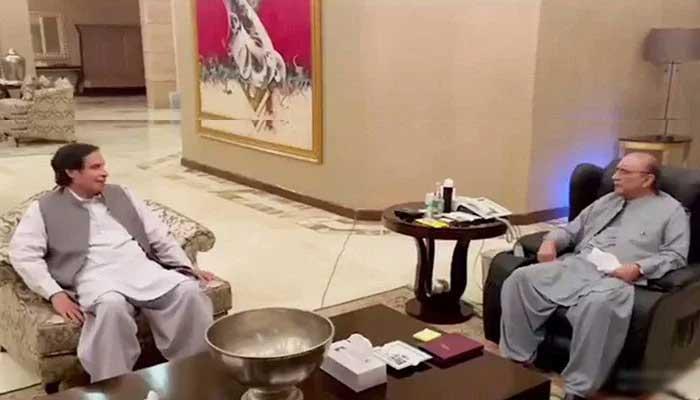 Former president Asif Ali Zardari in meeting with PML-Qs Ch Pervaiz Elahi.