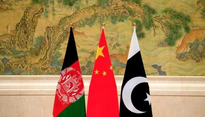 Flags of Afghanistan, China and Pakistan.