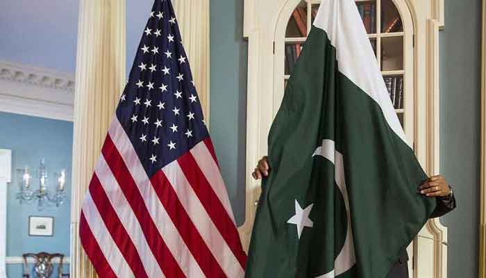 Flags of Pakistan and the US.