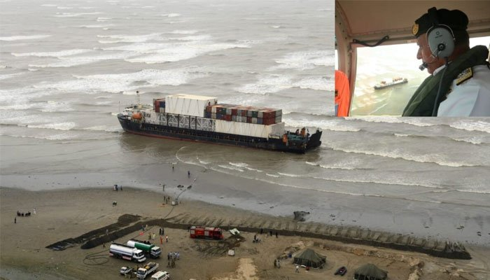 Naval chief conducts aerial review of ship defueling at Clifton beach