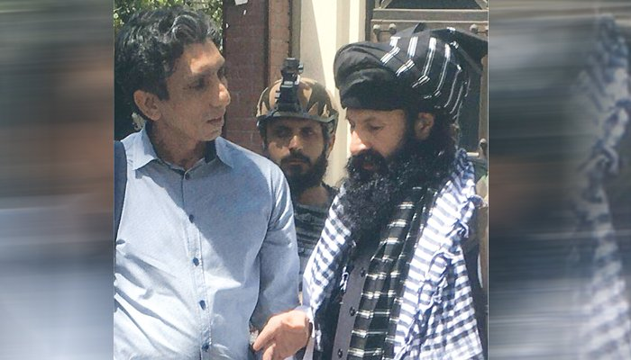 Geo News correspondent Azaz Syed withKhalil-ur-Rahman Haqqani.