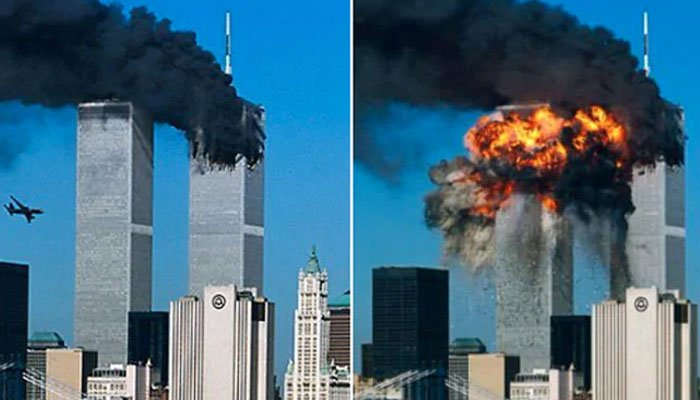 File photo of the World Trade Centre (WTC) hit by planes on 9/11.