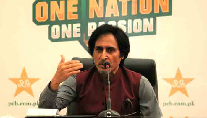 Ramiz Raja speaking at a press conference after being elected the PCB chairman.