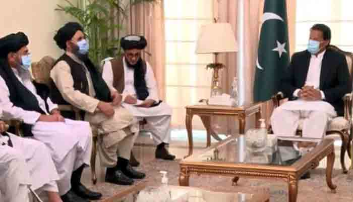 Prime Minister Imran Khan in a meeting with the Taliban Political Commission delegation in Islamabad. –Photo Radio Pakistan