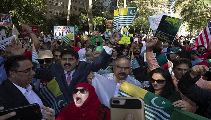 Kashmiris protest Modi's speech at UNGA