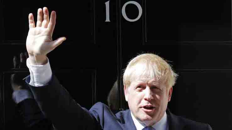 UK PM Boris Johnson outside his office in London.