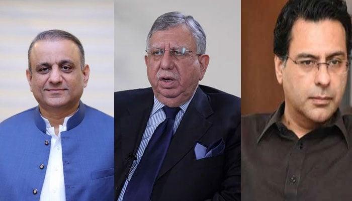 Senior PTI leader Aleem Khan, Finance Minister Shaukat Tarin and PML-Q leader Moonis Elahi