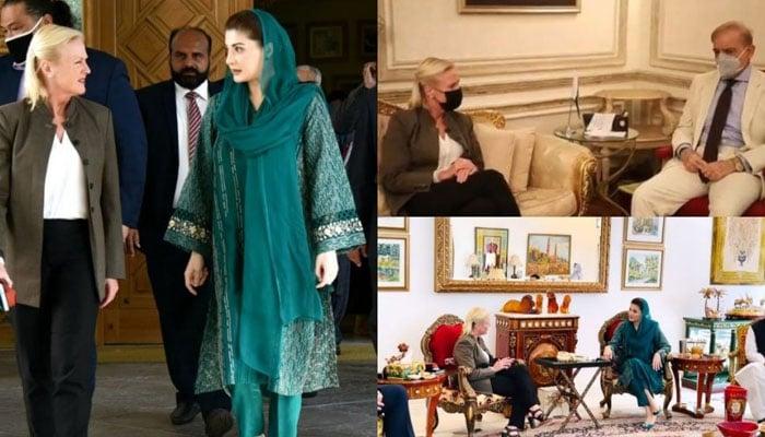 Angela Aggeler meets Shehbaz Sharif, Maryam Nawaz separately
