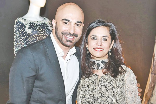 Roshaneh Zafar with HSY, who created a 20-piece collection, with each piece representing the twenty years journey of Kashf.