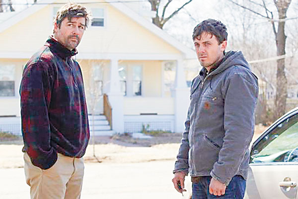 Kyle Chandler and Casey Affleck in a scene from Manchester by the Sea. Produced by Matt Damon (left), the film is on the short-list for potential Oscar nods.