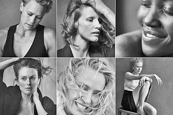 Hollywood's biggest actresses go sans make-up in Pirelli Calendar
