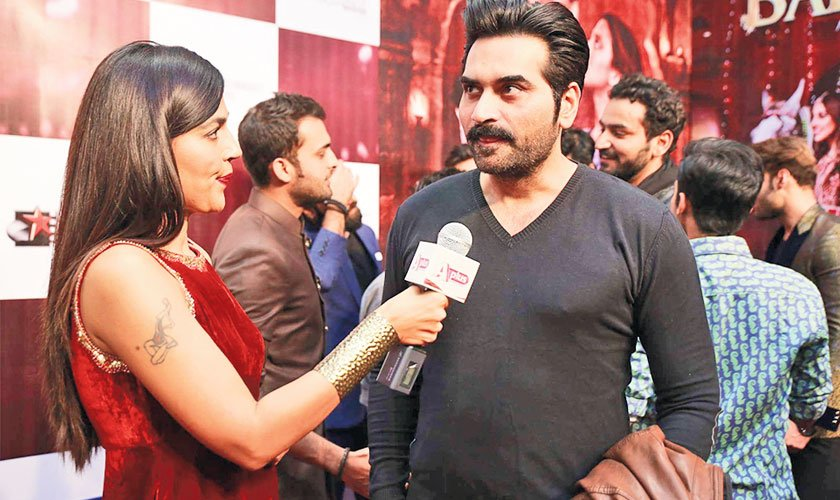 Spotted: Humayun Saeed speaking to media at the premiere of Balu Mahi.