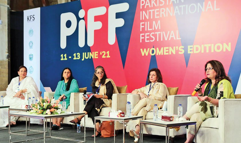 Panellists discussing 'Gender Stereotypes in Media and What are Women Doing About It?' on day three.